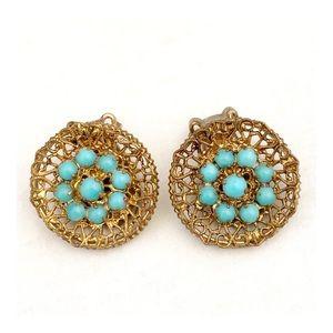 Vintage Austria Bronze Turquoise Clip On Earrings